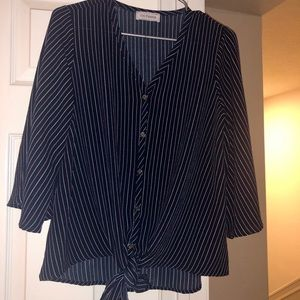 Tops - Navy Blue pin striped button down blouse